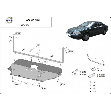 Volvo S40 cover under the engine - Metal sheet