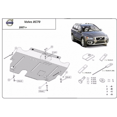 Volvo XC70 cover under the engine 2.0D, 2.4D - Metal sheet
