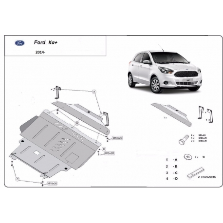 Ford KA cover under the engine – Metal sheet