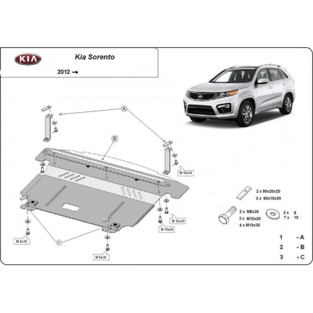 Kia Sorento cover under the engine – Metal sheet