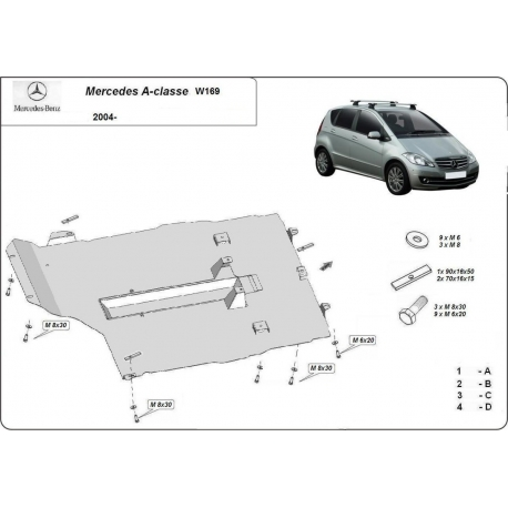 Mercedes A-Class cover under the engine – Metal sheet