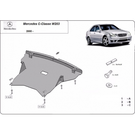 Mercedes C-Class W203 cover under the engine 2.2 diesel – Metal sheet