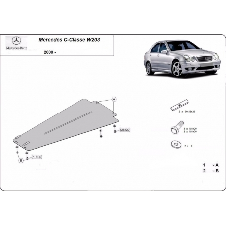 Mercedes C-Class W203 cover under the gearbox – Metal sheet
