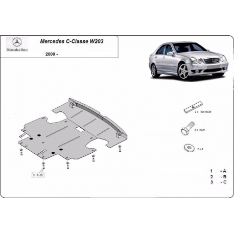 Mercedes C-Class cover under the engine 2.0 benzín – Metal sheet