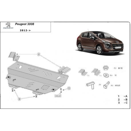 Peugeot 3008 cover under the engine – Metal sheet