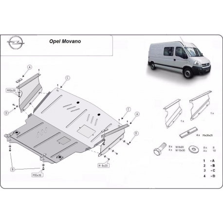 Opel Movano cover under the engine – Metal sheet