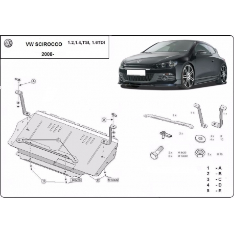 VW Scirocco cover under the engine 1.2, 2.0TSi, 2.0TDi – Metal sheet