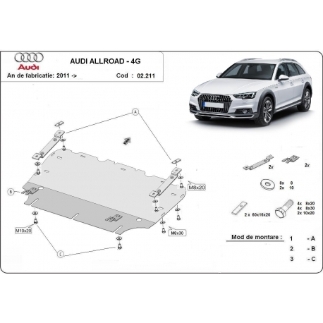 Audi Allroad cover under the engine - Metal sheet