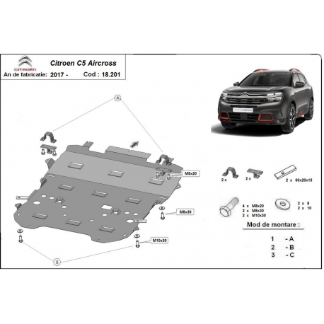 Citroen C5 Aircross cover under the engine - Metal sheet