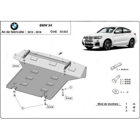 BMW X4 cover under the engine - Metal sheet