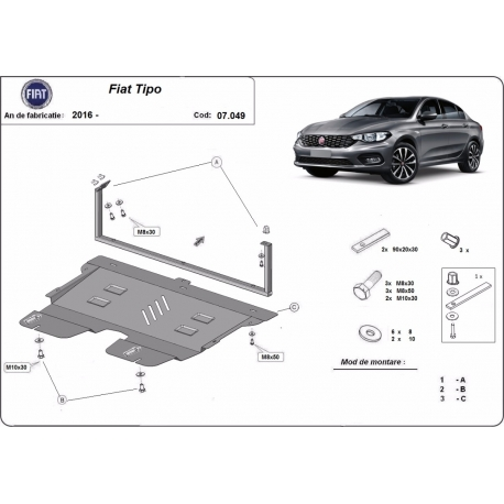 Fiat Tipo cover under the engine - Metal sheet