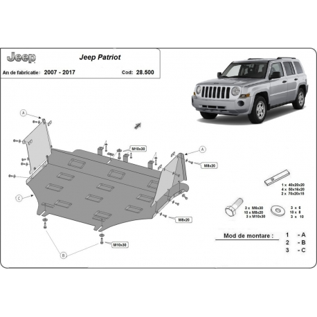 Jeep Patriot cover under the engine - Metal sheet