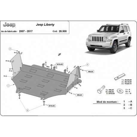 Jeep Liberty cover under the engine - Metal sheet