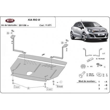 Kia Rio cover under the engine - Metal sheet