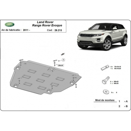 Range Rover Evoque cover under the engine - Metal sheet