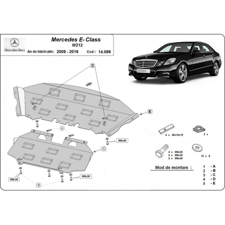 Mercedes E-Classe cover under the engine W212 - Metal sheet