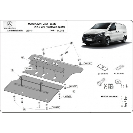 Mercedes Vito cover under the engine 2.2D, 4X2 RWD - Metal sheet