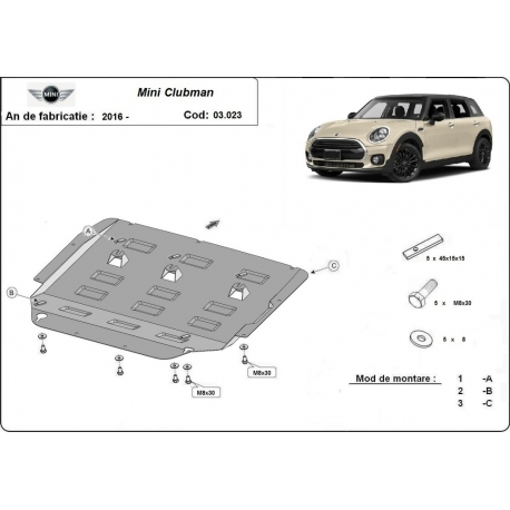 Mini Clubman cover under the engine - Metal sheet