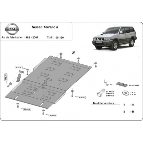 Nissan Terrano cover under the gearbox - Metal sheet
