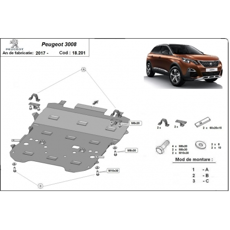 Peugeot 3008 cover under the engine - Metal sheet