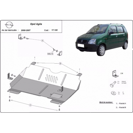 Opel Agila cover under the engine 1.0, 1.2, 1.3D - Metal sheet