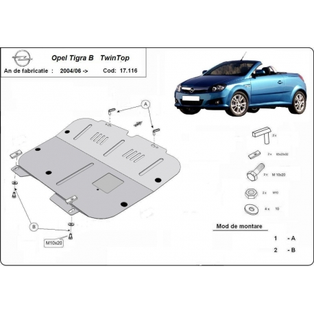 Opel Tigra cover under the engine - Metal sheet