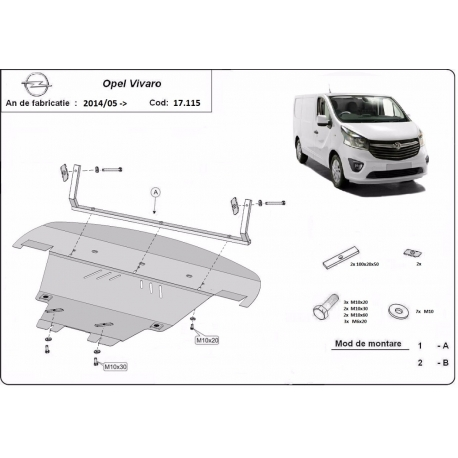 Opel Vivaro cover under the engine - Metal sheet