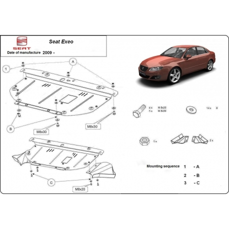 Seat Exeo (cover under the engine) 1.9, 2.0TDi - Metal sheet