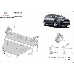 Citroen C4 (cover under the engine) 1.4, 1.6, 1.6HDI, 1.8, 2.0 ,2.0HDI - Metal sheet