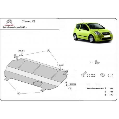 Citroen C2 (cover under the engine) 1.1, 1.4B, 1.4HDI, 1.6, 1.6HDI - Metal sheet