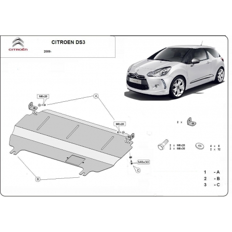 Citroen DS3 (cover under the engine) - Metal sheet