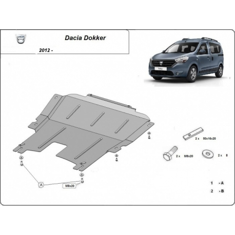 Dacia Dokker (cover under the engine) 1.2, 1.4, 1.5 TDci - Metal sheet