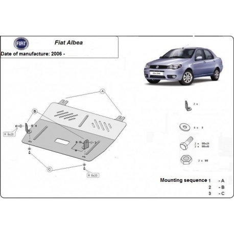 Fiat Albea (cover under the engine) 1.4, 1.6TDi - Metal sheet