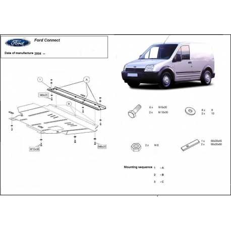 Ford Connect (cover under the engine) 1.6,1.8 / 1.8D, 2.0 - Metal sheet