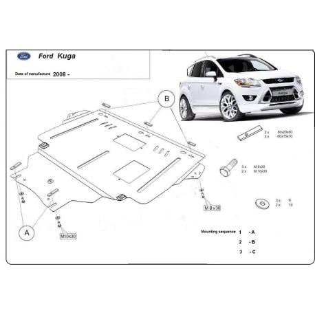 Ford Kuga (cover under the engine) 2.0D - Metal sheet