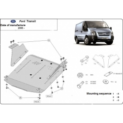 Ford Transit (cover under the engine) 1.7TDci, 2.4TD - Metal sheet