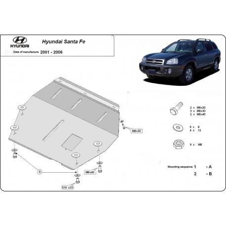 Hyundai Santa Fe (cover under the engine) 2.0, 2.4, 2.7, CRDi (4x4) - Metal sheet