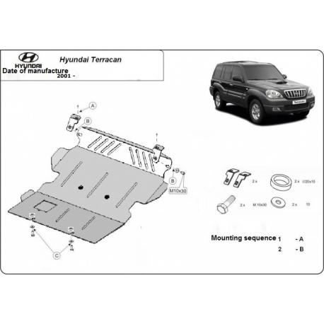 Hyundai Terracan (cover under the engine) 2.5TD, 2.9TD, (4WD) 2.9CRDi - Metal sheet