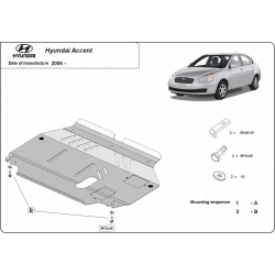 Hyundai Accent (cover under the engine) 1.3, 1.5 - Metal sheet