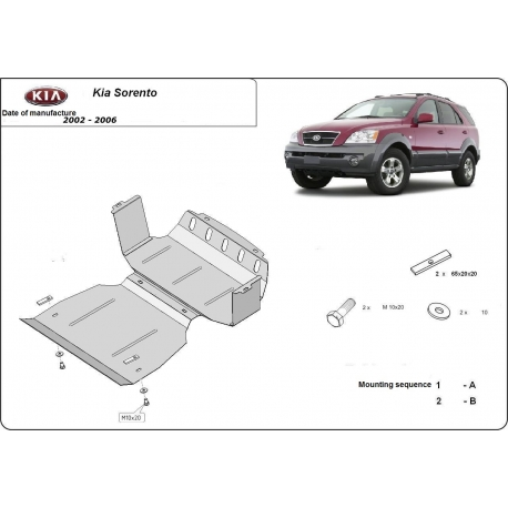 Kia Sorento (cover under the engine) 2.4, 2.5CRDi, 3.5V6 - Metal sheet