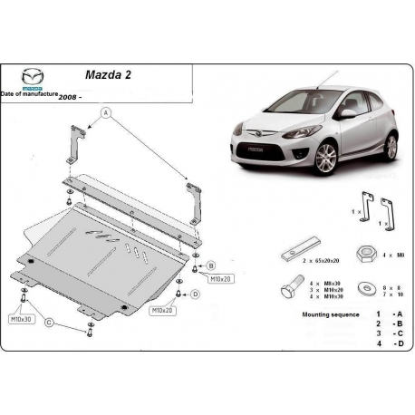 Mazda 2 (cover under the engine) 1.3, 1.4, 1.5, 1.6, 2.0 - Metal sheet