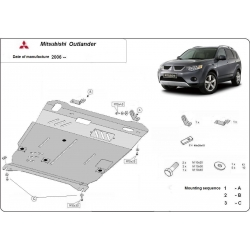Mitsubishi Outlander (cover under the engine) 2.0, 2.0(4WD), 2.0T, 2.4(4WD) - Metal sheet