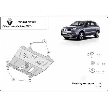 Renault Koleos (cover under the engine) 2.4 CRDi - Metal sheet