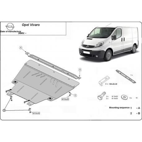 Opel Vivaro (cover under the engine) 1.9D, 2.0, 2.5D - Metal sheet