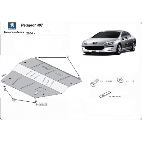 Peugeot 407 (cover under the engine) 1.6, 1.8, 2.0HDi - Metal sheet