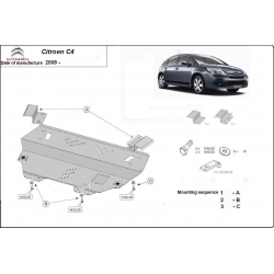 Citroen C4 (cover under the engine) 1.4, 1.6, 1.6HDI, 1.8, 2.0, 2.0HDI - Metal sheet