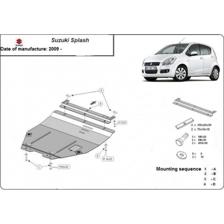 Suzuki Splash (cover under the engine) 1.1, 1.3, 1.5TDi - Metal sheet