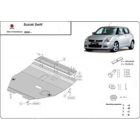 Suzuki Swift (cover under the engine) 1.1, 1.3, 1.5TDi - Metal sheet