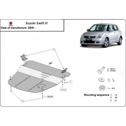 Suzuki Swift III (cover under the engine) 1.1, 1.3, 1.5TDi - Metal sheet