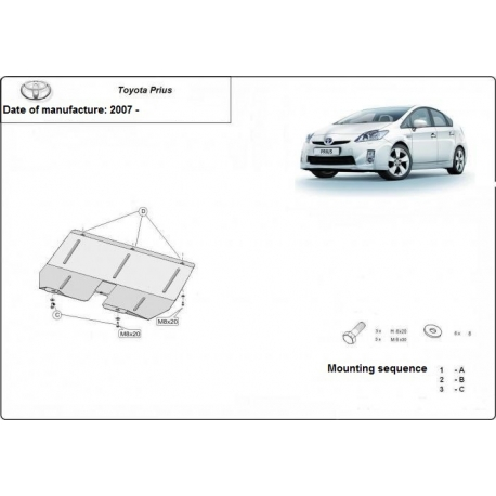 Toyota Prius (cover under the engine) 1.4, 1.6, 1.8, D, Hybrid - Metal sheet